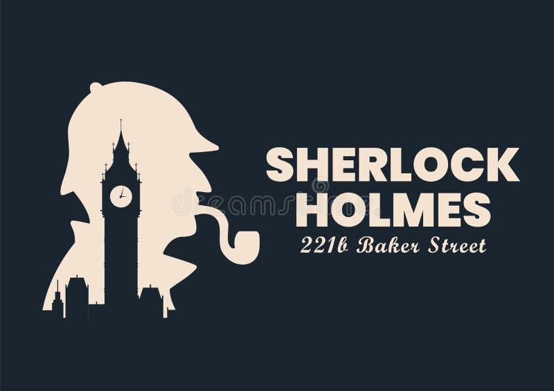 Sherlock holmes silhouette with Big Ben London Banner sign stock illustration