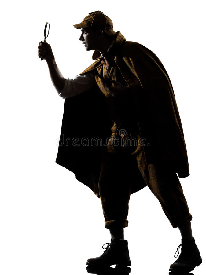 Sherlock holmes silhouette. In studio on white background stock image