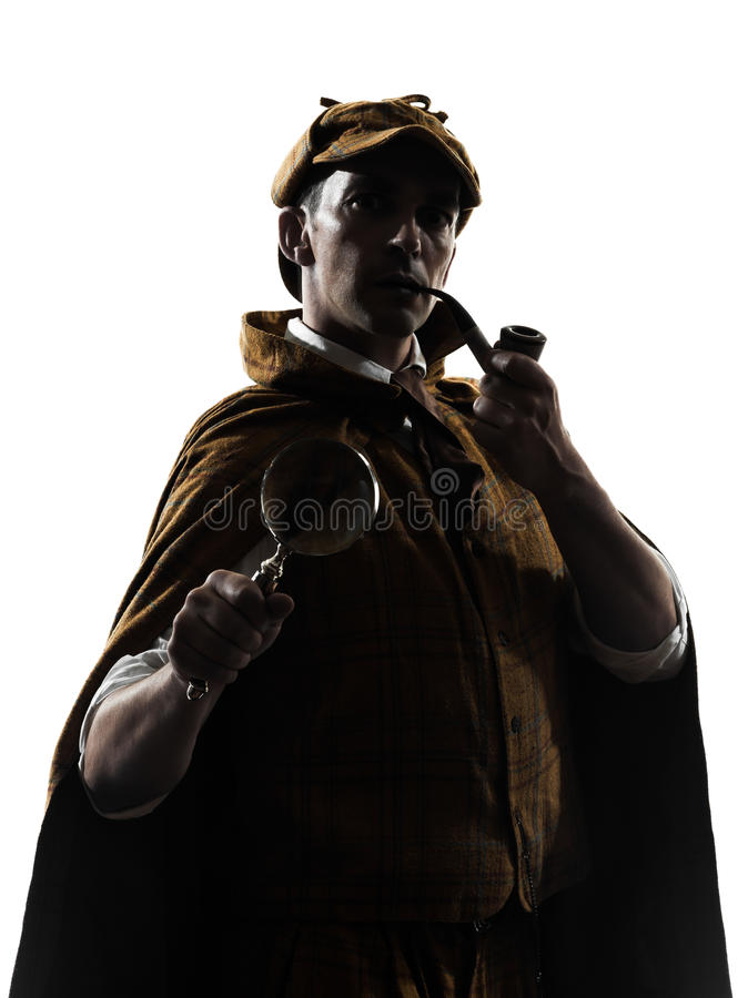 Sherlock holmes silhouette. In studio on white background royalty free stock images