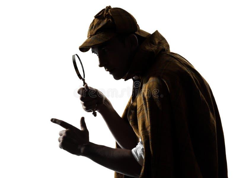 Sherlock holmes silhouette. In studio on white background royalty free stock photos