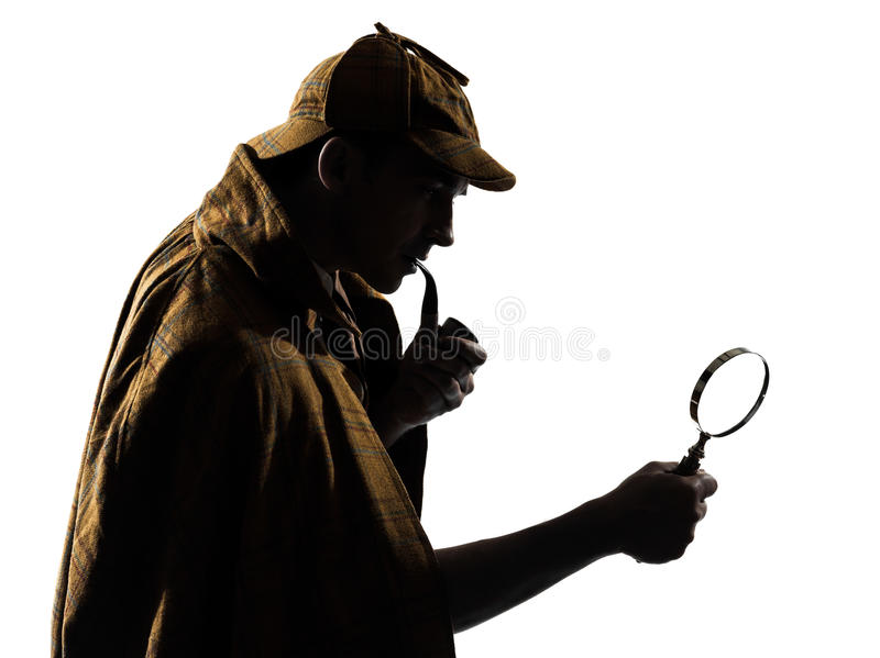 Sherlock holmes silhouette. In studio on white background stock photo