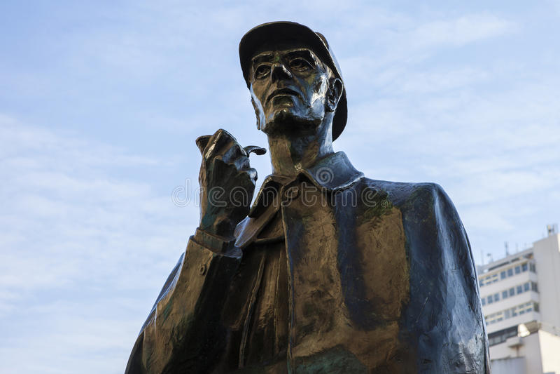 Sherlock Holmes Statue en Londres fotos de archivo