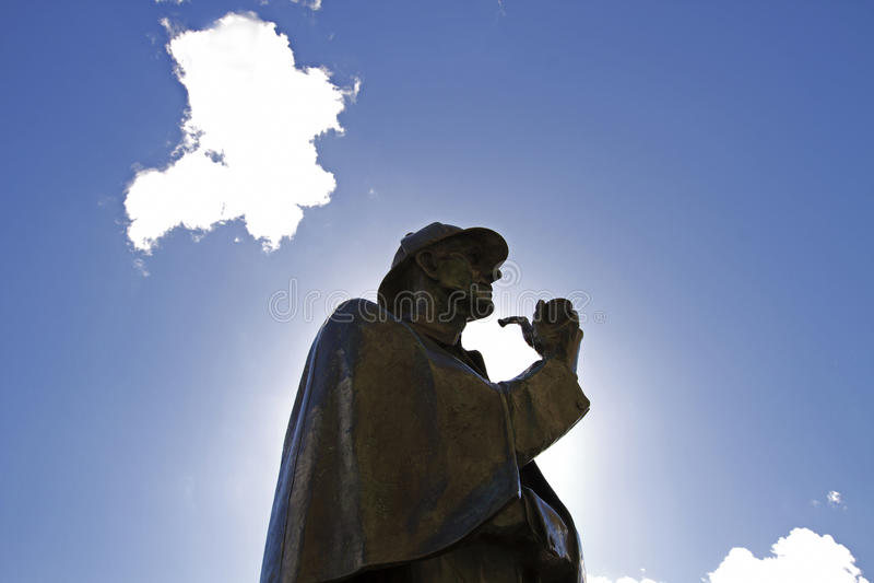 Sherlock Holmes. Statue of Sherlock Holmes outside Baker Street tube station,London, UK stock images
