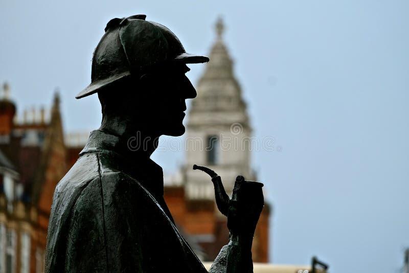 Sherlock Holmes. Statue of Sherlock Holmes at tha Baker Square in London stock photos