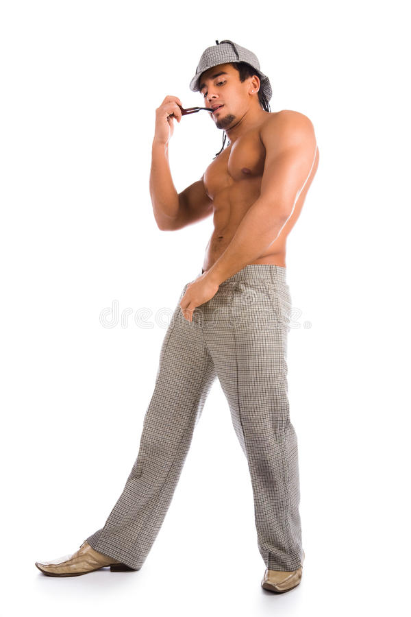 Sherlock Holmes stripteaser royaltyfri foto