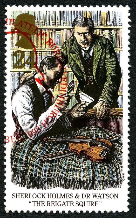 Sherlock Holmes UK znaczek pocztowy fotografia royalty free