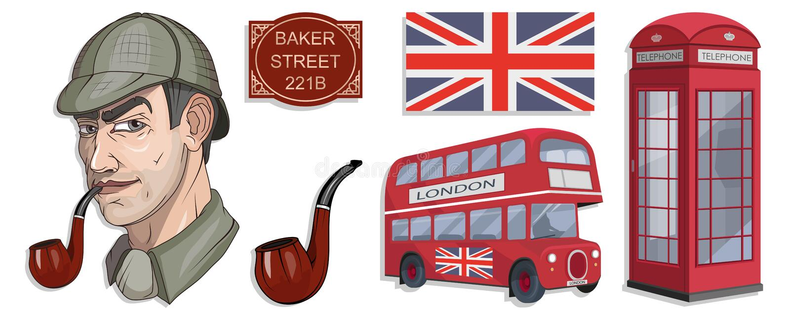 Sherlock Holmes vector, London, ilustration with Sherlock Holmes, Baker street 221B, Sherlock Holmes hat, famous London private stock illustration