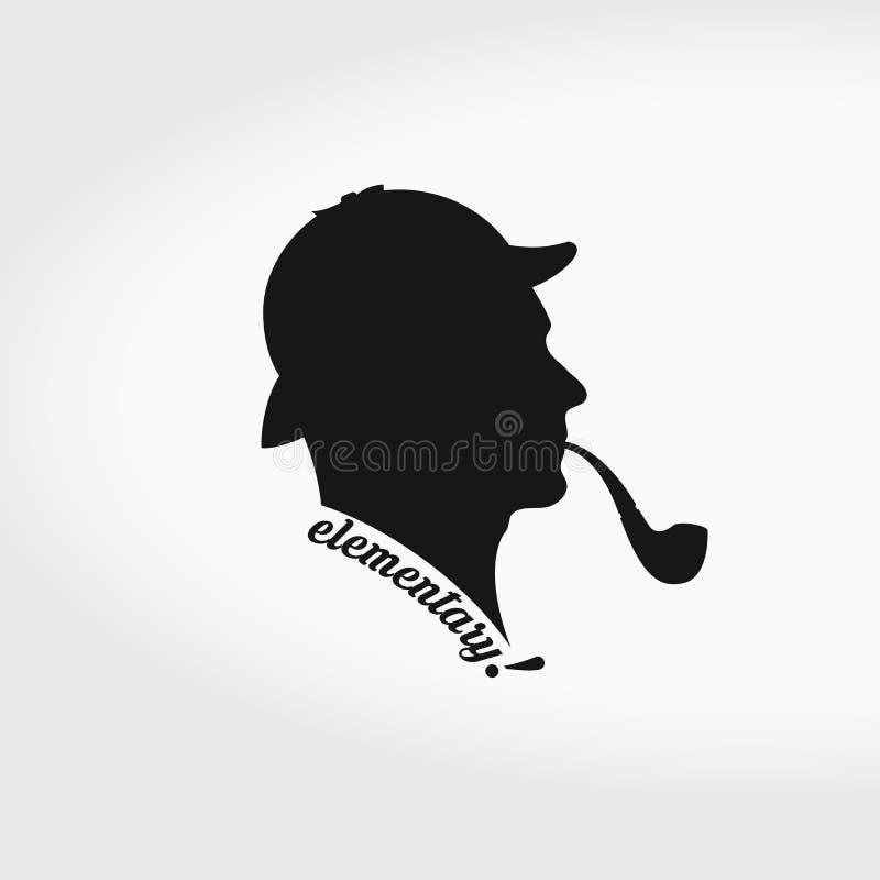 Sherlock Holmes Vetora Silhouette De fumo e caça do chapéu tubulação separadamente ilustração royalty free