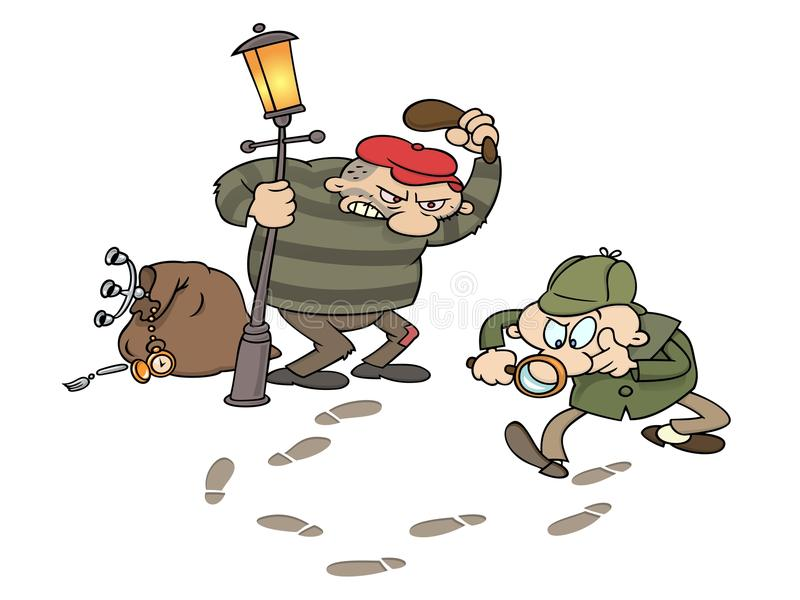 Sherlock trailing a thief stock illustration