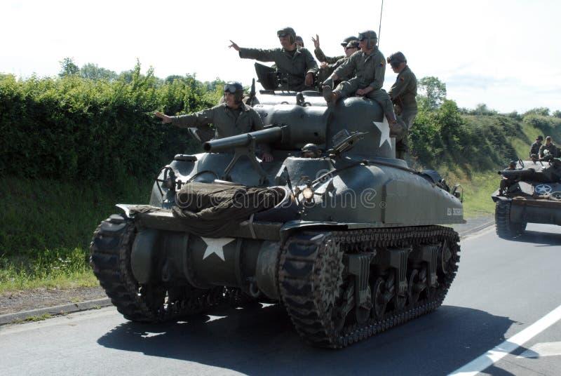Sherman behållare Normandie 2014 arkivfoton