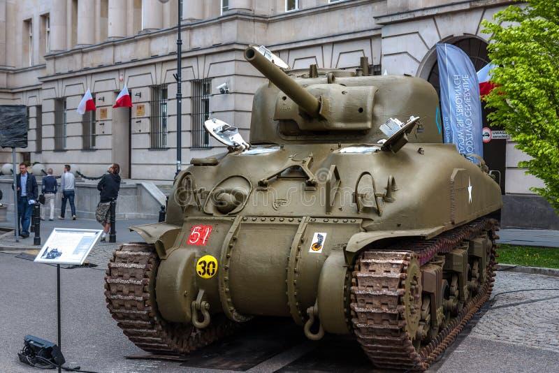 Sherman M4 tank. WARSAW, POLAND - MAY 08, 2015: Sherman tank, Canadian versionof M4, used during World War II. 70th Anniversary of End of WW II stock image