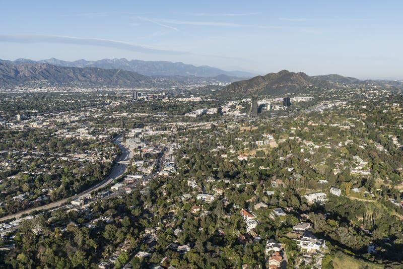 Sherman Oaks och studiostad flyg- Los Angeles Kalifornien arkivfoto