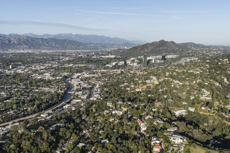 Los Angeles Sherman Oaks And Encino Afternoon Aerial