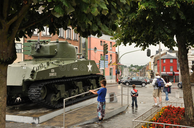 Sherman tank. Bastogne, Belgium - August 2010 A Sherman tank of the 11th Armored Division, Thunderbolt on a square in Bastogne stock photo