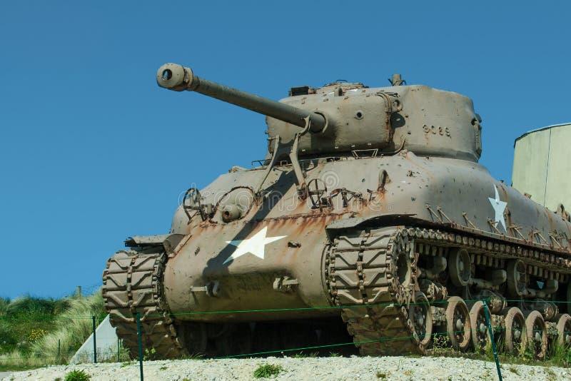Sherman Tank på den Utah stranden royaltyfria bilder