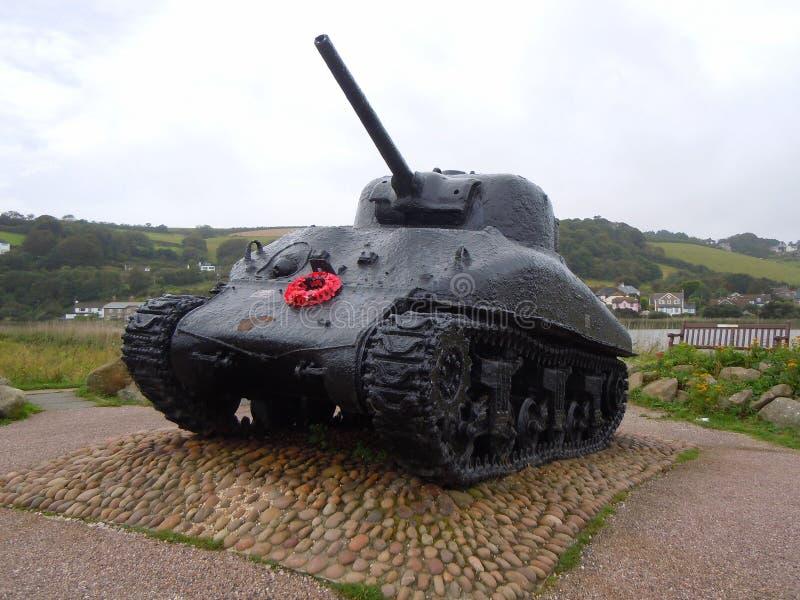 Sherman tank war memorial stock photo
