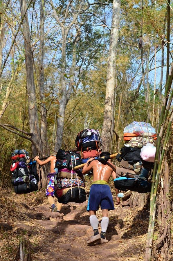 Sherpa furtian niesie ciężkich ładunki w Tajlandia fotografia stock