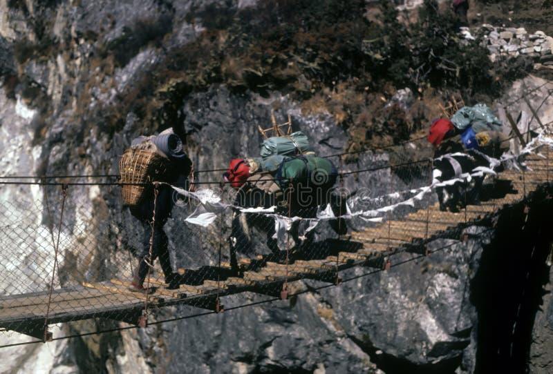 Sherpa y yaks que cruzan el puente de suspensión foto de archivo libre de regalías