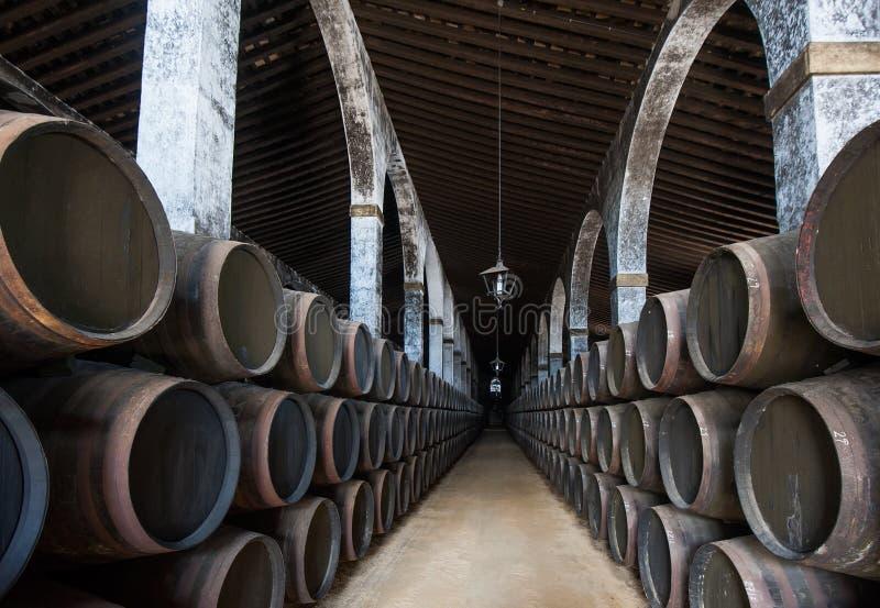 Sherry barrels in Jerez bodega, Spain stock images