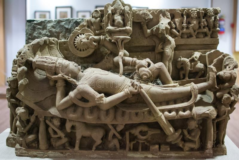 Sheshashai Lord Vishnu Stone Idol India imagens de stock