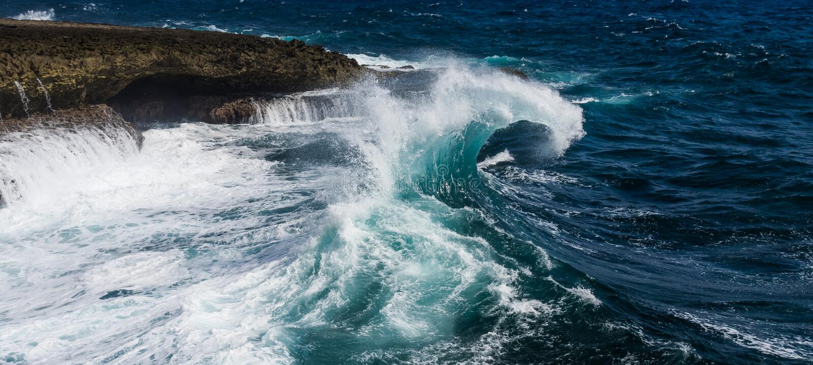 Shete Boka. National park and the crashing waves on the Northern coast of Curacao caribbean stock photos