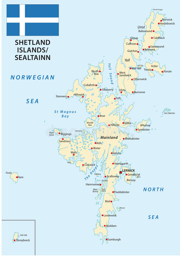 Shetland Islands Map With Flag Stock Illustration - Image: 69361034