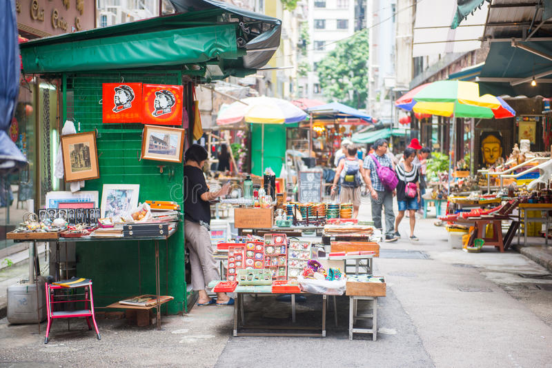 Sheung pallido, Hong Kong - 22 settembre 2016: Negozio di oggetti d'antiquariato a su immagine stock libera da diritti