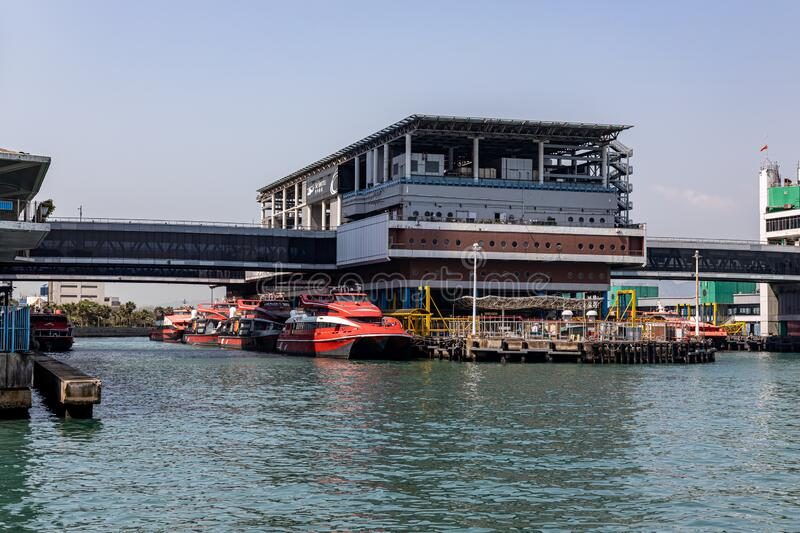 Hong Kong - Macau Ferry Terminal at Victoria Habour. High-speed crafts are berthed at stock images