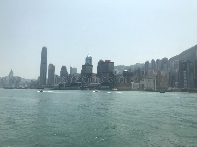 Sheung Wan, Hong Kong Island. The coastal area of Sheung Wan, Hong Kong Island, Including IFC and Shun Tak Centre stock photos