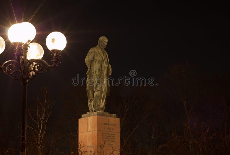 Shevchenko. Monument of ukranian poet Shevchenko at the night royalty free stock photo