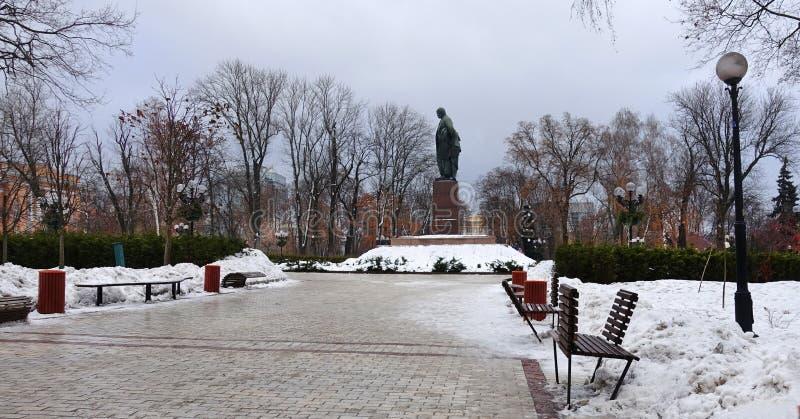 Shevchenko park w Kijów Aleja prowadzi sławny Ukraiński poety Tarasu Shevchenko zabytek zdjęcia stock