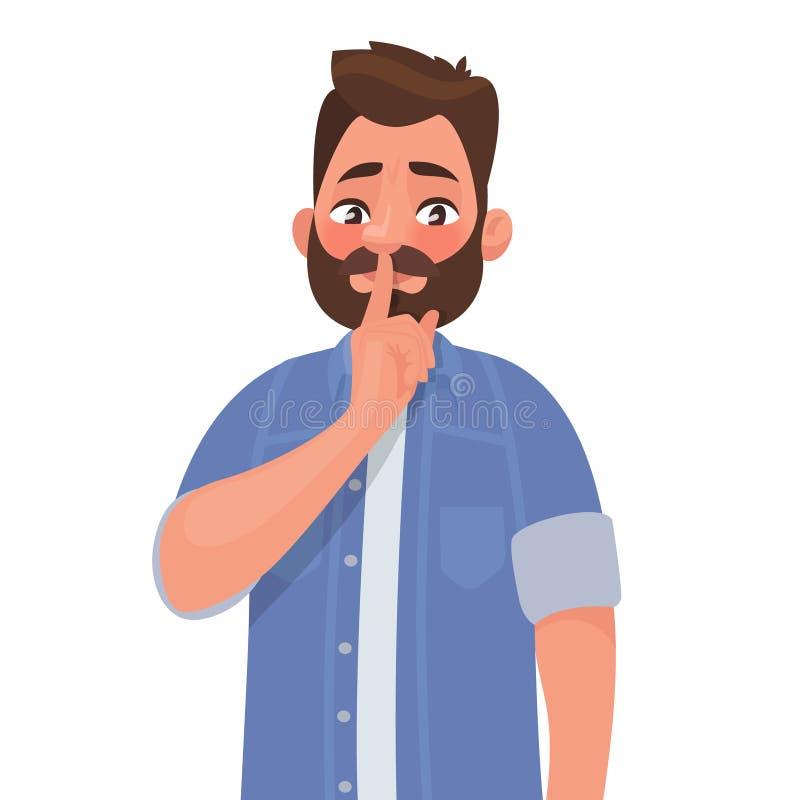 Shh! Gest jest quieter Pojęcie męski sekret Mężczyzna pyta ilustracji