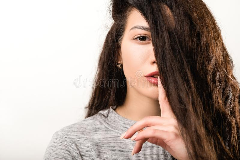 Shh hush secret silence gesture woman shushing stock photography