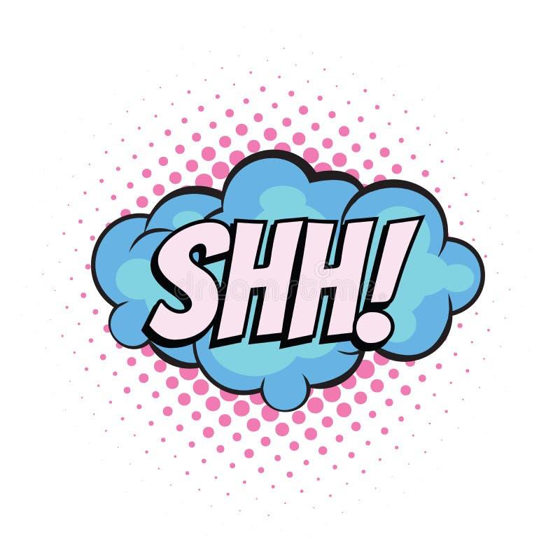 Shh komiczny słowo ilustracja wektor
