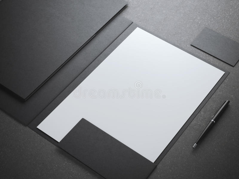 Shhet blanc vide dans le dossier noir illustration stock