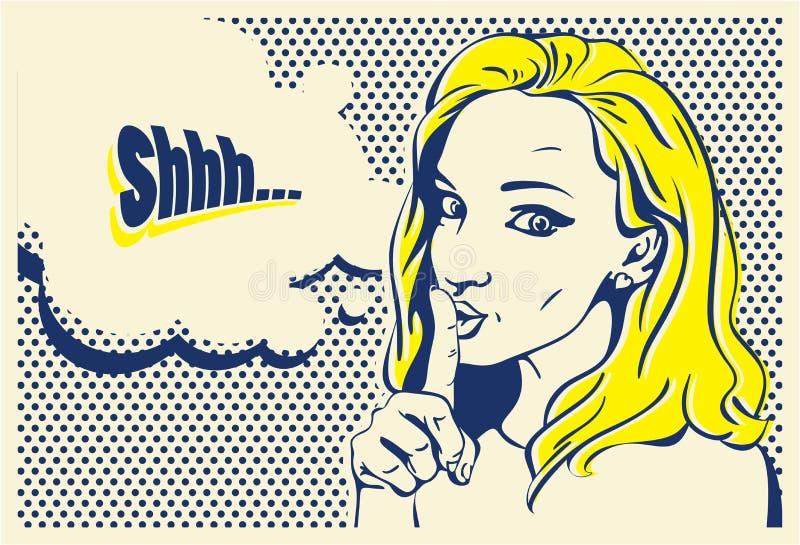 Shhh kvinna baner för kvinna för stil för popkonst, hand dragen kvinna vektor illustrationer