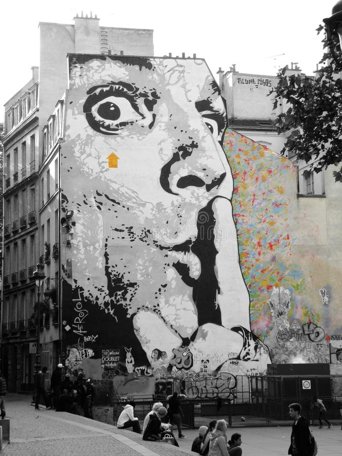 Shhh malowidło ścienne Jeff aerosolem obrazy stock