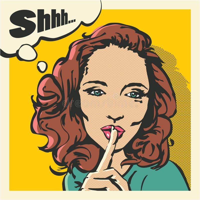 Shhh stängde sig kvinnan, kvinna med fingret på kanter, tystnadgesten, kvinna för stil för popkonst, upp vektor illustrationer