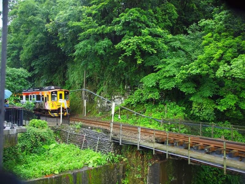 Shi Fen - Taipei. Colorful train in Shi Fen, Taipei stock image