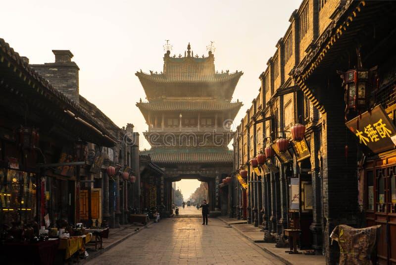 Shi Low della città antica di Ping Yao immagine stock