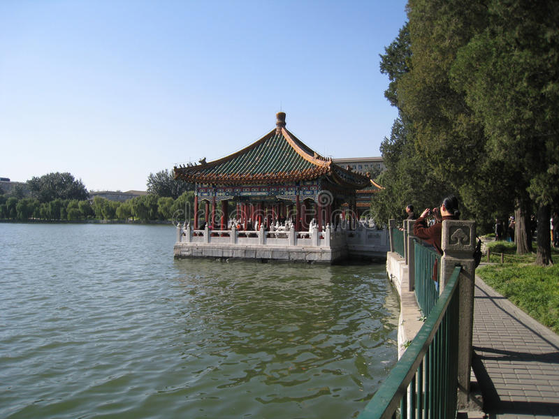 Shi-sa-hai lake in central beijing. District at Shi-sa-hai lake in central Beijing China stock images