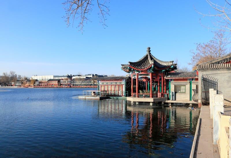 The Shi-sa-hai lake in central Beijing China. The bar and night club district at Shi-sa-hai lake in central Beijing China royalty free stock photo