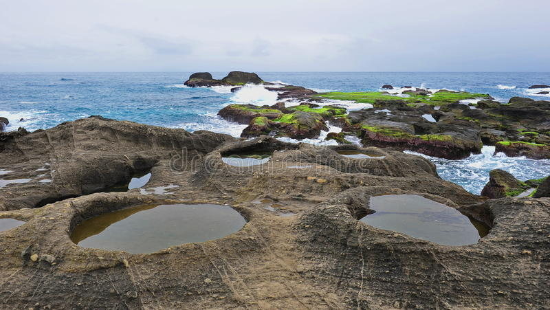 Shi Ti Ping tourist attraction in Taiwan. Famous Shi Ti Ping tourist attraction, featuring geological potholes at the east coast of Taiwan stock image