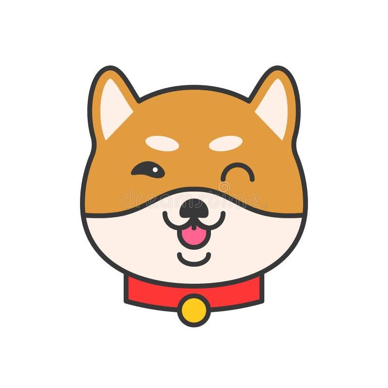 Shiba σχέδιο περιλήψεων inu emoticon διανυσματικό, γεμισμένο ελεύθερη απεικόνιση δικαιώματος