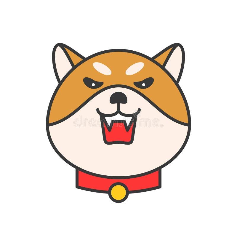 Shiba inu emoticon wektor, wypełniający konturu projekt royalty ilustracja