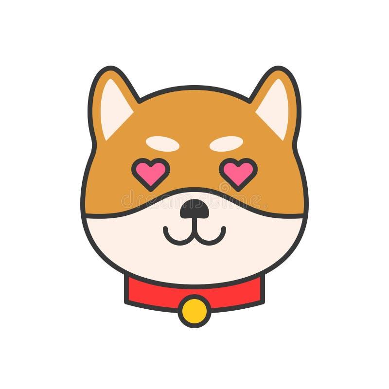 Shiba inu emoticon wektor, wypełniający konturu projekt ilustracji