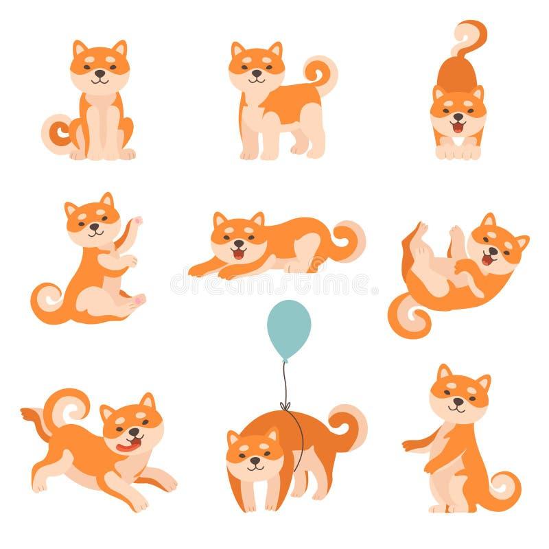 Shiba Inu Jest prześladowanym Wykonywać Codzienne aktywność Ustawiać, Urocza Japonia zwierząt domowych zwierząt postaci z  ilustracji