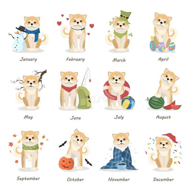 Shiba inu kalendarz ilustracja wektor