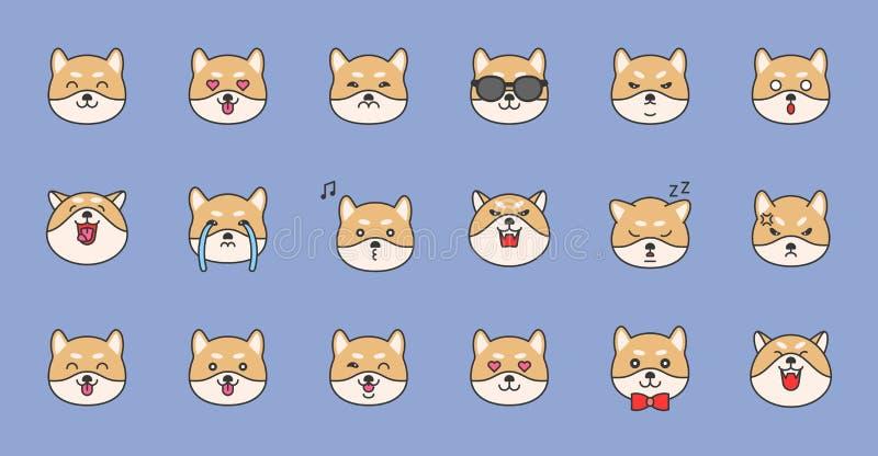 Shiba inu konturu emoticon wypełniający projekt, wektorowa ilustracja royalty ilustracja