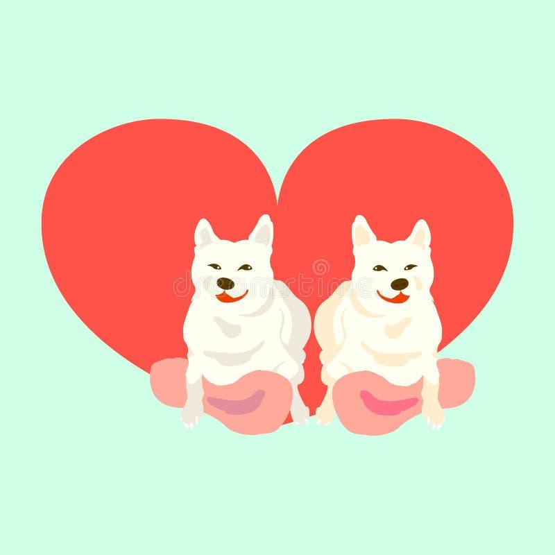 Shiba Inu med hjärta vektor illustrationer